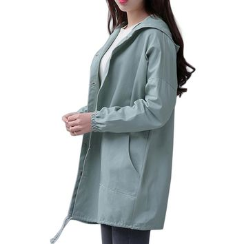 EXOTAO Spring 2017 New Women Jacket Drawstring Hem Long Sleeves Hooded Coat Spring Lightweight Windbreaker Jaqueta Feminina