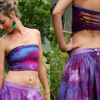 CUSTOM Pixie tube top shirt braided hand dyed  psy poi clothing