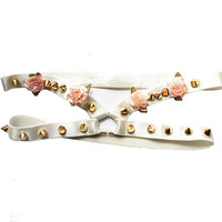 ChainCandy Pink Pastel Ribbon Flowers Gold Spiked Cream Leg Thigh Garters