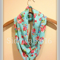 Floral Infinity Scarf - Infinity Scarf - Scarf - Knit Scarf