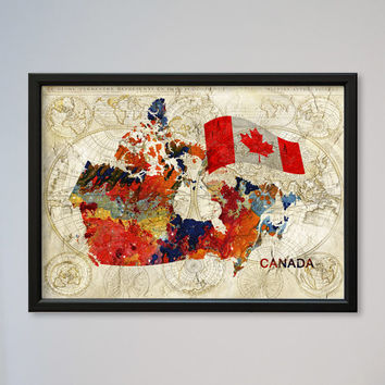 Canada INSTANT DOWNLOAD Watercolor Map Flag Wall Art Decor Fine Art Giclee Print Gift Poster Home Decor Wall Hanging