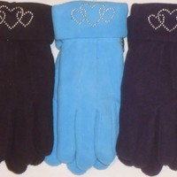 Set of Three Finest Mongolian Fleece Gloves with Rhinestone Hearts for Women and Teens