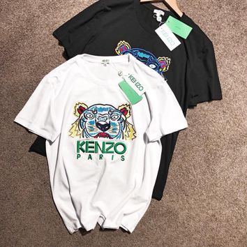 """""""Kenzo"""" Unisex Casual Fashion Multicolor Tiger Head Letter Embroidery Short Sleeve Couple T-shirt Top Tee"""
