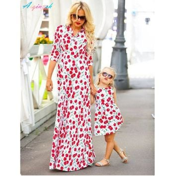Mommy Kids Girls Mother Daughter Dresses Long Sleeve Cherry Fruit Printing Bohemian Style Family Mom Baby Maxi Dress Outfits