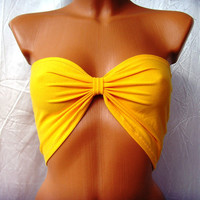 10% discount with code cvetinka10 CUSTOM MADE Sport Bandeau Yoga Summer Bra Tube Strapless Top In Bright Sunny Yellow Bow Ribbon By Cvetinka