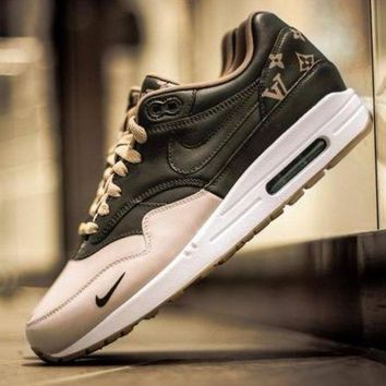 PEAPNW6 Sale LV x Supreme Nike Air Max 1 Custom Gold Brown Men Women Fashion Shoes Sneaker Casual Shoes