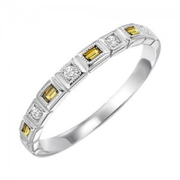 10k white gold diamond and emerald cut citrine birthstone ring