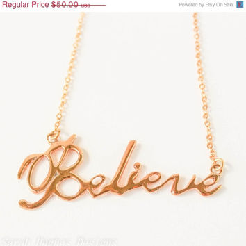VALENTINES DAY SALE Believe handwriting 10k gold plated Christmas necklace