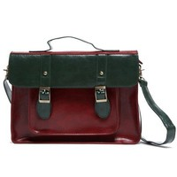 Vintage Preppy Style Color Block Shoulder Bag - Oasap High Street Fashion