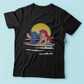 Disney Stich And Little Mermaid Men'S T Shirt