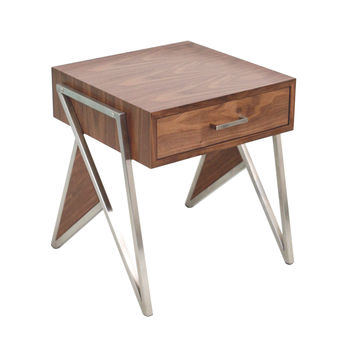 Tetra End Table / Night Stand Walnut Wood, Stainless Steel Silver Frame