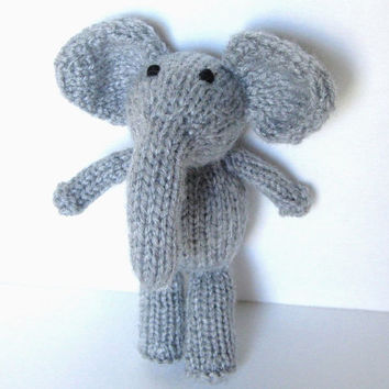 """Little Stuffed Elephant, Hand Knit Toy, Ready To Ship, Small Knit Toy Toddler Gift Newborn Photo Prop Baby Gift Plush Jungle Animal 7"""""""