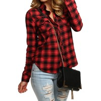 Sale-red Super Soft Plaid Shirt