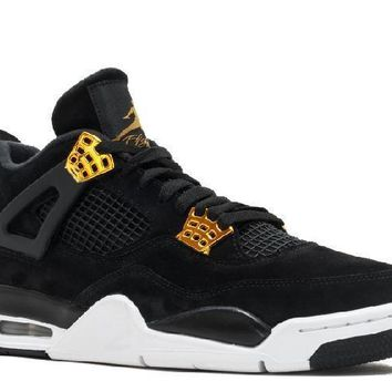 Ready Stock Nike Air Jordan 4 Retro Royalty Black Metallic Gold White Basketball Sport Shoes