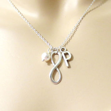 Infinity, Necklace, Infinity, Pearl, Personalized, Infinity, Necklace, Gift, Necklace, Bridesmaid, Necklace, Bridal, Wedding, Infinity