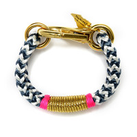 The ROPES | Navy Chevron Gold & Hot Pink Bracelet