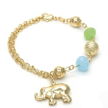 Gold Layered 03.32.0114.07 Charm Bracelet, Elephant and Ball Design, with Dark Apple Green and Aquamarine Opal, Polished Finish, Golden Tone