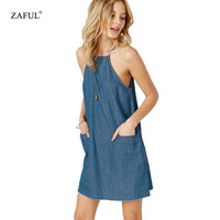 New Summer Denim Dresses Women's Vintage Sexy Strap Sleeveless Pocket Women mini dress