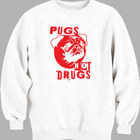 Pugs Not Drugs Red Sweater for Mens Sweater and Womens Sweater ***