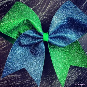 Two colors Navy blue and Kelly green glitter cheer bow.
