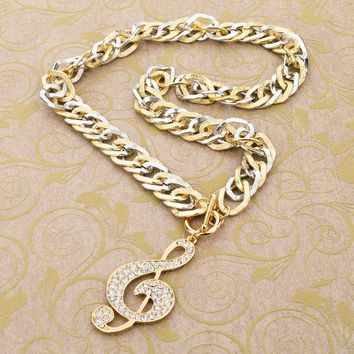 Fashion Gold Chain Necklaces & Pendants Crystal Music Pendant Multi Layer