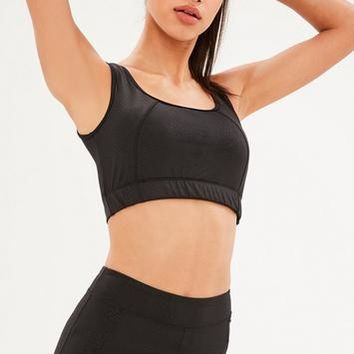 Missguided - Active Black Snake Sports Bra