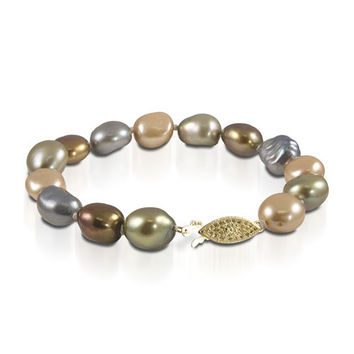 "7.5"" 10-11mm  Multi-Color Color Freshwater Pearl Bracelet with 14K Gold Clasp"