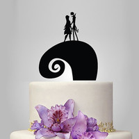 Acrylic Jack and Sally Wedding Cake Topper