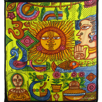 Multi Color Bright Sun Indian Bohemian Hippie Tapestry & Bedspread