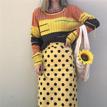 Fashion Harajuku Sweater Yellow Purple Tassel Striped Sweater Ugly Christmas Long Sleeve Knitting Pullovers Crop Pull Femme 2018