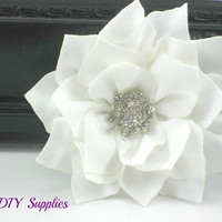 White star chiffon fabric flower with star rhinestone center - wholesale flowers - headband supplies - chiffon flower - hair clip flower