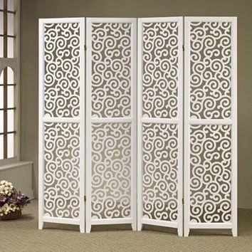 4 panel white finish wood scrolled design shoji screen room divider with elegant design
