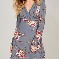 Floral Surplice Shirred Dress