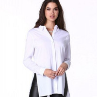 White Split Sides Long Sleeve Button Down Collared Top