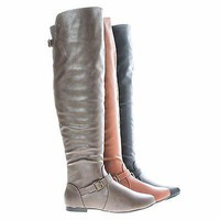 Tiara44 Taupe By Bamboo, Over Knee High Slouchy Equestrian Riding Boots w/ Faux Fur Lining