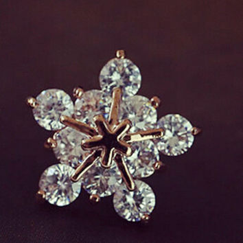 Snow Rose Gold Earrings with Austrian Crystal + Beautiful Gift Box