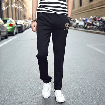SexeMara2017 New Spring Autumn Brand Sweatpants For Young Men Fashion Slim Fit Elastic Waist Pants Print Causal Trousers Workout