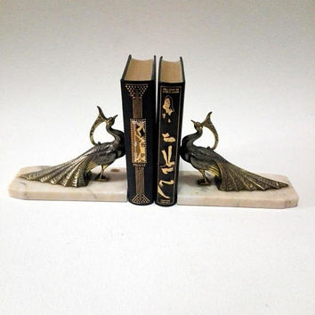 French vintage Peacock Bookends, Art deco, shabby chic, french decor, french style, french style, Peacock, french collectibles, metal birds