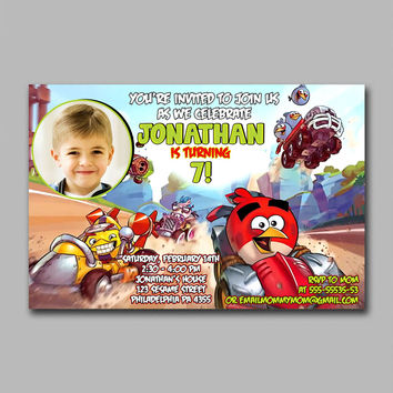 ADF 249 Angry Bird Race Inspired Kids Birthday Invitation Party Design