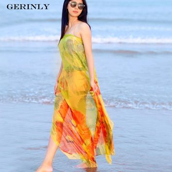 GERINLY Sarong Summer Print Scarf Flowers Hawaiian Dresses Sexy Women's Bikini Cover Up Wrap Hijab Plus Size Pareo Beach Scarves