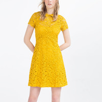 LACE DRESS WITH FLOUNCE SKIRT