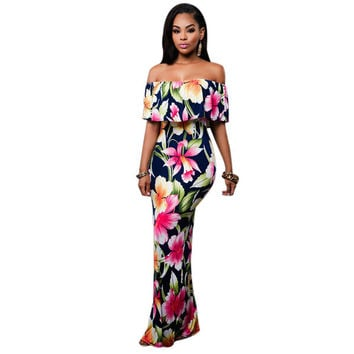 2016 Boho Fashion Sexy Bodycon Long Summer Dresses Off The Shoulder Strapless Flower Print Backless Elegant Party Maxi Dress