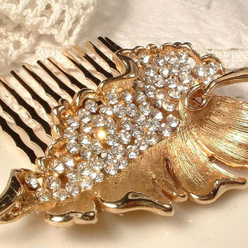 Vintage Gold Hair Comb, Clear Rhinestone Brushed Gold Leaf Bridal Hair Comb, Heirloom Pave Crystal Leaf Brooch to OOAK Hair Comb Exquisite