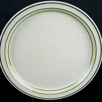 """Shannon Aran Stone Dinner Plate Ivory Green yellow Gray 10.5"""" Made in Ireland"""
