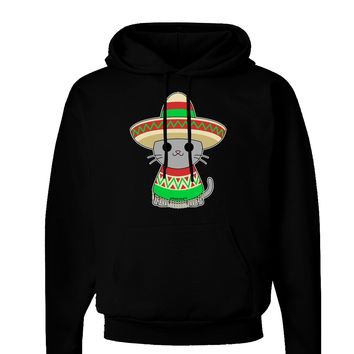 Cat with Sombrero and Poncho Dark Hoodie Sweatshirt by TooLoud