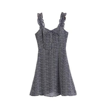 Little Star Women Sexy V-neck Ruched Spaghetti Strap Sleeveless Mini Dress Empire Sweet Style Star Printed Chiffon Mini Dress