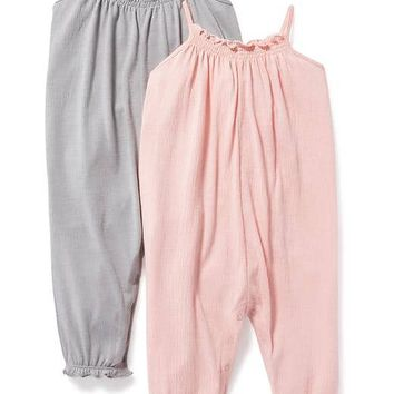 2-Pack Shirred Tank Romper for Baby | Old Navy