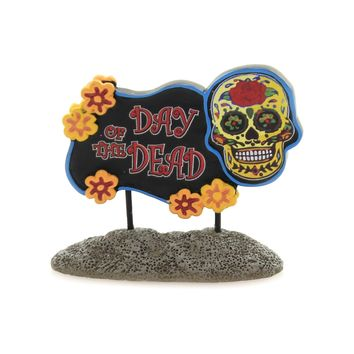 Department 56 Accessory DAY OF THE DEAD SIGN Polyresin Halloween 6003230