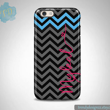 iPhone case, Personalized iPhone case iPhone 6 case 6 plus Samsung S6 Edge S5 S4, Black Gray Chevron Blue Chevron Hot Pink Heart (29)