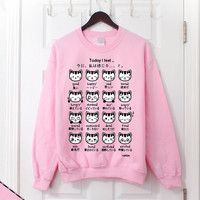 Japanese Kitty Emoticon Crewneck/ Sweatshirt - Sweetheart Pink